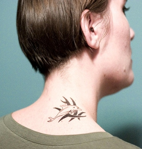Minimalistic tattoo on the neck