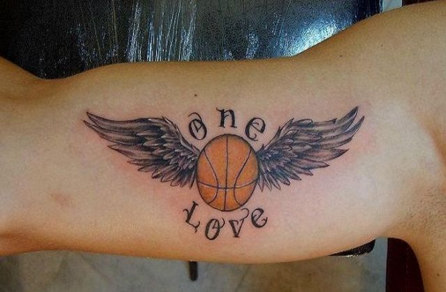 One love tattoo on the biceps
