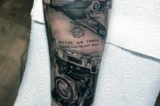 Plane and camera tattoo idea on the forearm