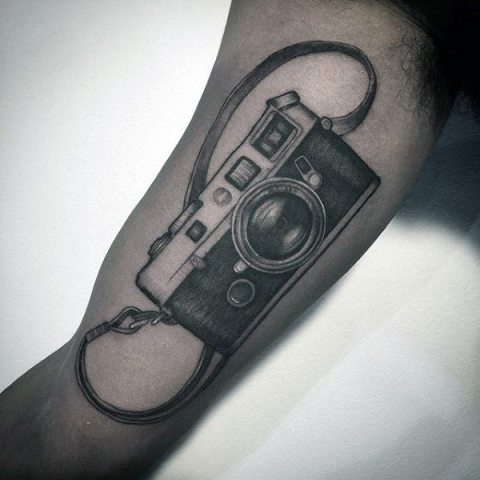 Realistic camera with strap tattoo