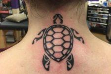 Simple tribal turtle tattoo on the neck