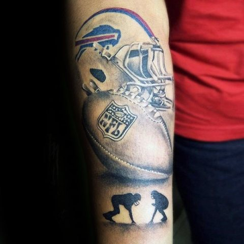 Stylish tattoo with helmet, football and two players