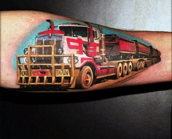 Truck tattoo idea on the arm