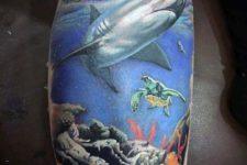 Turtle and shark tattoo