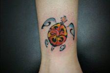 Turtle tattoo idea on the ankle