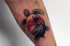 Turtle with image of sunset on the shell tattoo