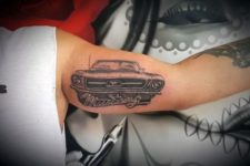 Unique mustang tattoo on the biceps
