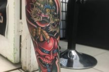 Unique tattoo on the leg