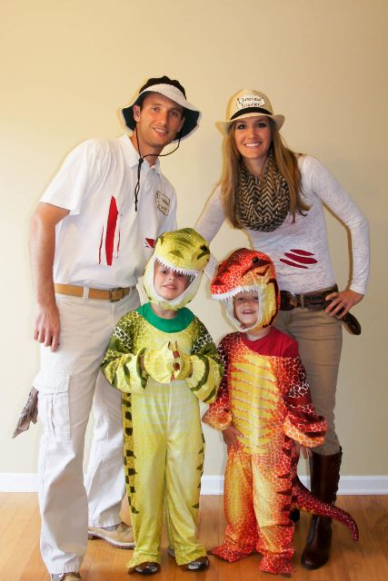 dinosaur Halloween costumes for the kids and dinosaur hunters's costumes for the parents