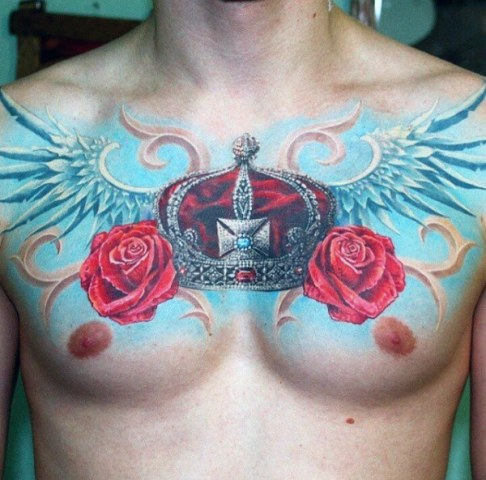 Wings, roses and crown tattoo