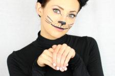 DIY last minute black cat Halloween makeup