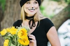 DIY black cat makeup for Halloween