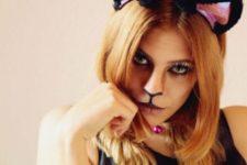 DIY cat makeup tutorial with fake lashes