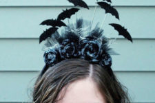 DIY batty Halloween headband