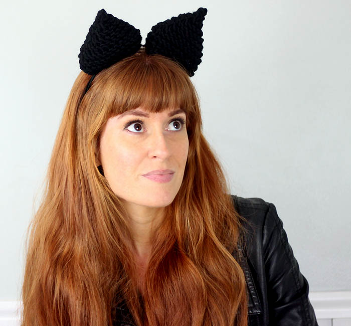 DIY cat knit ear headband (via www.gina-michele.com)
