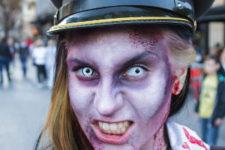 DIY zombie makeup in purple tones