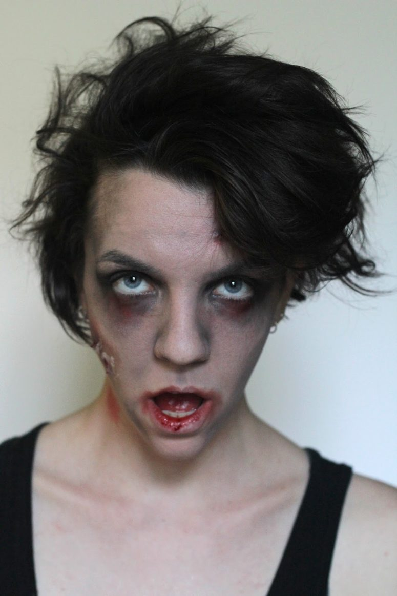 DIY not very spooky zombie makeup (via www.wecanmakeanything.net)