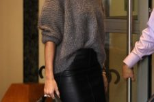 02 a black leather midi pencil skirt and a slouchy grey sweater is a perfect winter ensemble