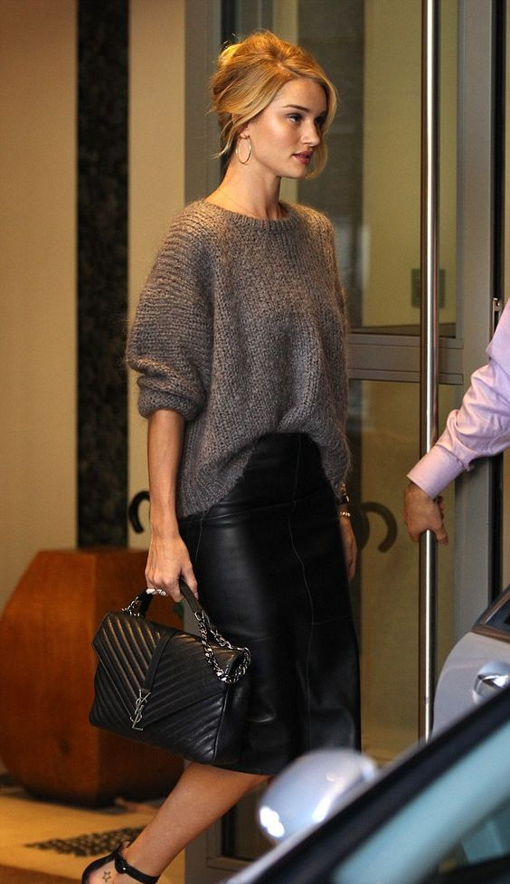 a black leather midi pencil skirt and a slouchy grey sweater is a perfect winter ensemble