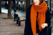 02 a chic and warm burnt orange scarf and a matching bag to spruce up a basic outfit
