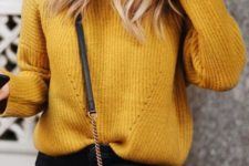 02 an eye-catchy mustard sweater, black jeans and a black cross body bag for a casual look