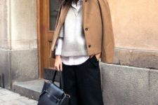 02 black culottes, a white shirt, a grey sweater over it, a camel coat on top and black shoes