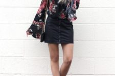 03 a black denim skirt, a floral print blouse with bell sleeves and pink suede booties