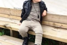 03 beige pants and a matching tee, black leather boots and a black leather jacket