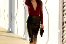 04 a black leather midi, a burgundy plunging neckline top and matching heels for a date