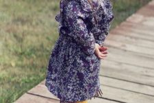 04 a chiffon purple and white floral dress, yellow warm tights and leather fringed shoes