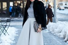 04 a dove grey midi A-line skirt, a grey turtleneck, black tights, black shoes, a faux fur coat