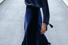 04 a navy silk blouse, a navy velvet midi skirt and black vintage-inspired shoes
