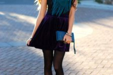 04 add color to your look with a deep purple mini skirt, purple shoes and a teal scarf