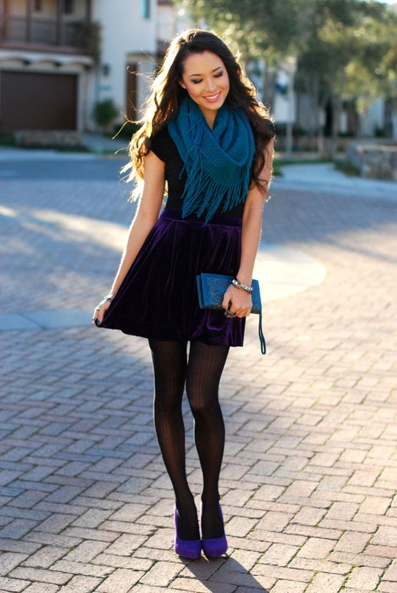 add color to your look with a deep purple mini skirt, purple shoes and a teal scarf
