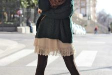04 an oversized dark green sweater, a white lace skirt, black tights, brown booties and a brown scarf