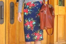 05 a blue floral pencil skirt, a striped top, brown suede booties and a burnt orange bag