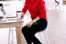 05 a red sweater and shoes plus black denim for a creative job outfit