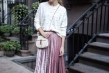 05 a white pearly sweater, a pink pleated velvet midi skirt, nude shoes and a white bag