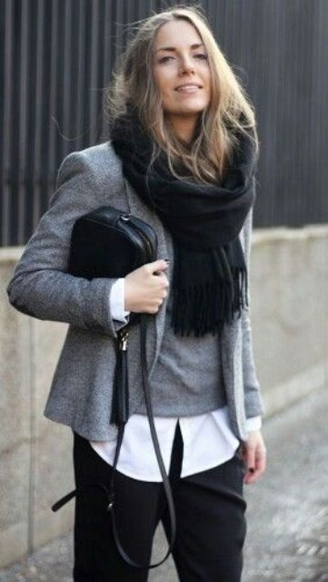 a white shirt, a grey vest, a grey jacket, black pants and a black scarf for a comfy work look