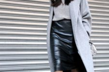 06 a black pencil midi skirt, a grey sweater, coat and sneakers for a relaxed yet chic look