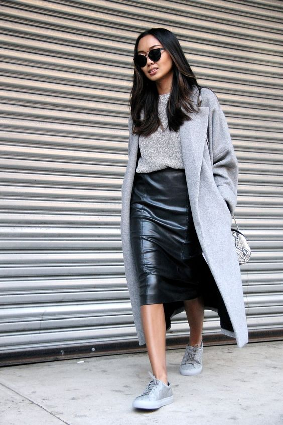 a black pencil midi skirt, a grey sweater, coat and sneakers for a relaxed yet chic look