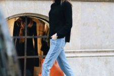06 a black turtleneck sweater, light blue jeans and black suede sock boots