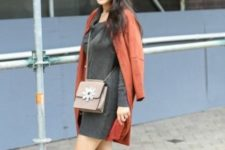 06 a grey sweater dress, a burnt orange coat, grey suede booties and a matching bag