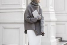 06 a white straight skirt, a grey oversized sweater, black sock booties