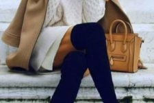 06 a white sweater dress, black suede tall boots, a camel coat and an ocher bag for a chic look
