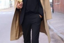 07 a black pantsuit, a black top, burgundy booties and a camel coat is an ideal fall look