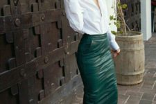 07 a green leather midi pencil skirt with pockets, a wwhite shirt and nude heels can be worn to work