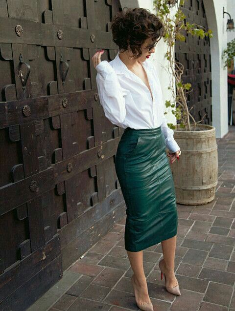 a green leather midi pencil skirt with pockets, a wwhite shirt and nude heels can be worn to work