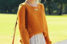 07 a mustard sweater, a white lace skirt, a vintage brown bag for a cool fall look