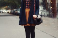 07 a plaid shirt, a yellow vlvet pleated skirt, black tights and brown vintage shoes, a black coat